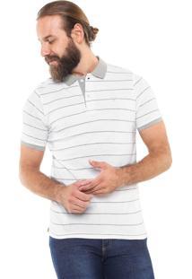 Camisa Polo Yachtsman Reta Listrada Branca/Cinza