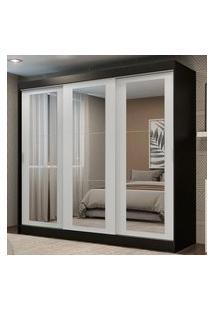 Guarda-Roupa Casal Madesa Kansas 3 Portas De Correr De Espelho 3 Gavetas Preto/Branco Cor:Preto/Branco