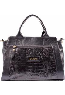 Bolsa Couribi Couro Legítimo Texturizado Mini Bag Alça Transversal Tiracolo - Feminino-Preto