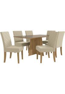 Mesa Para Sala De Jantar Com 6 Cadeiras Ba25-Kappesberg - Freijo / Bege