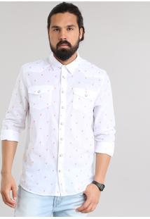 Camisa Estampada De Flamingo Branca