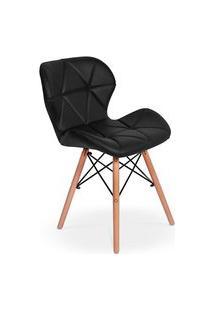 Cadeira Charles Eames Eiffel Slim Wood Estofada - Preta