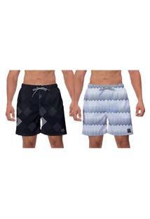 Kit 2 Shorts Moda Praia Preto Branco Linhas Banho Surf Vôlei Esporte Ajustável W2