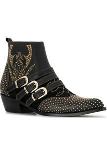 Anine Bing Ankle Boot Penny Com Tachas - Preto