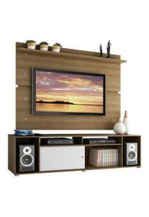 Rack Madesa Cancun E Painel Para Tv Até 65 Polegadas Rustic/Rustic/Branco