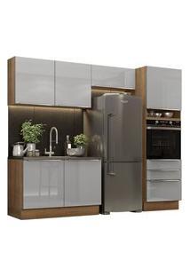 Cozinha Completa Madesa Lux 260005 Com Armário E Balcão Rustic/Cinza Rustic