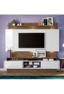 Estante Home Theater Para Tv Até 55 Polegadas 2 Portas De Correr 100% Mdf Tb113 Com Led Off White/Nobre - Dalla Costa