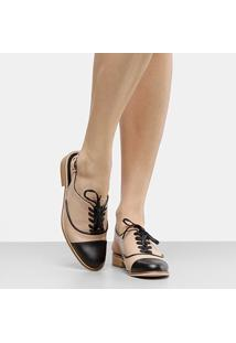 Oxford Couro Shoestock Bicolor Feminino - Feminino