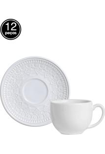 Jogo De Xícaras De Chá 12 Pçs Agra Branco Porto Brasil