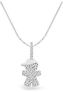 Pingente Menino Ouro Branco E Diamantes 17,9 Mm