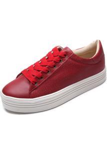 Tênis Flatform Dafiti Shoes Liso Vermelho
