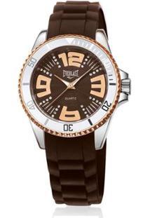 Relógio Everlast Silicone Feminino - Feminino-Marrom