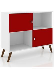 Rack Aparador Retrô Móvel Bento Branco/Vermelho