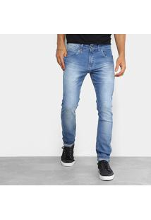 Calça Jeans Skinny Rock & Soda Estonada Masculina - Masculino-Azul Claro