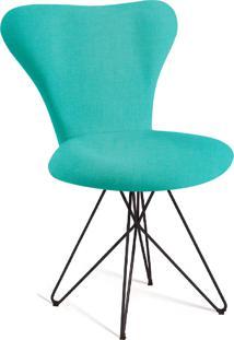 Cadeira Jaçobsen Butterfly Preto E Azul Turquesa T1130 Linho Daf