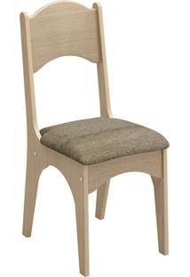 Cadeira Ca18 Chenille Marrom Carvalho