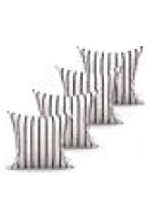 Conjunto De Capas Para Almofada Com 4 Peças Nobre Preto E Cinza 60X60 Cm