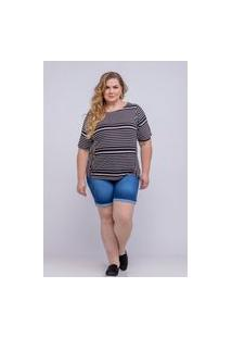 Bermuda Meia Coxa Almaria Plus Size Shyros Jeans Azul