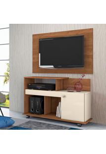 Rack Com Painel Para Tv Até 42 Polegadas Flash Nature E Off White 109 Cm