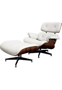 Poltrona Charles Eames Com Puff Couro Natural Branco - 34560 - Sun House