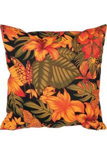 Capa Para Almofada Floral- Laranja & Verde- 40X40Cm