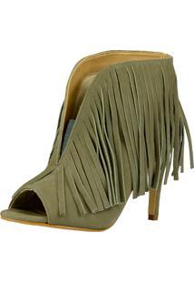 Ankle Boot Art Em Pé Franjas Cinza