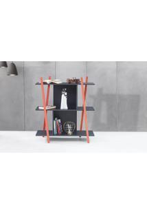 Aparador De Sofá Sue - Estante Moderna Baixa Preta Com Pés De Madeira Cor Vermelha - 90X38X100 Cm