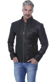Jaqueta De Couro Slim 760 Preta