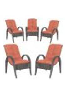 Cadeiras 5Un P/ Jardim Lazer Edicula Varanda Descanso Fibra E Tramas Napoli Plus Tabaco A40
