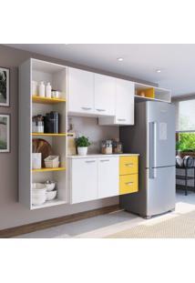 Cozinha Compacta 4 Peças 5 Portas Anabela Siena Móveis Branco/Amarelo