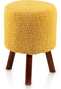 Puff Banqueta Round Crochê Madeira Amarelo Pé Mel Stay Puff