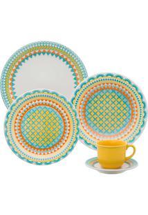 Aparelho De Jantar Floreal Bilro - 30 Peças - Oxford - Multicolorido
