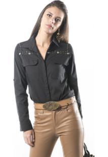 Camisa Marcia Mello Tricoline California M0 Preto