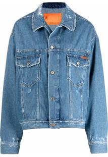 Golden Goose Jaqueta Jeans Com Estampa De Slogan E Efeito Destroyed - Azul