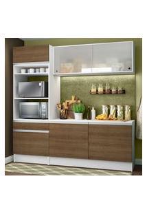 Armário De Cozinha Compacta Madesa Topazio Com Balcão E Tampo Branco/Rustic Branco