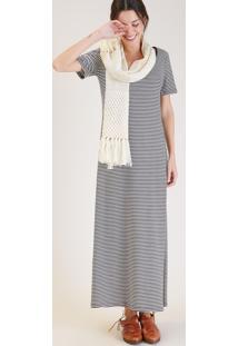 Vestido Longo Fendas Algodao Listrado Branco/Preto