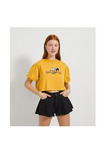 Blusa Cropped Com Mangas Bufantes Estampa Pepé Le Pew   Looney Tunes   Amarelo   Gg