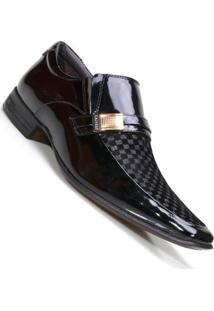 Sapato Social Calvest Em Couro Verniz E Veludo Preto Masculino - Masculino-Preto