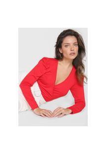 Blusa Morena Rosa Transpassada Vermelha