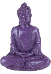 Escultura Buda Em Marmorite Roxo