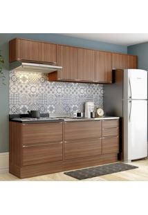 Cozinha Compacta 8 Portas 4 Gavetas 5456R Nogueira/Malt - Multimóveis