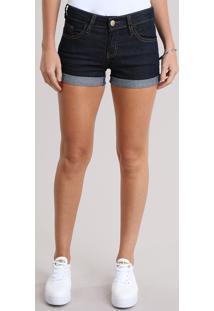 Short Jeans Feminino Reto Azul Escuro