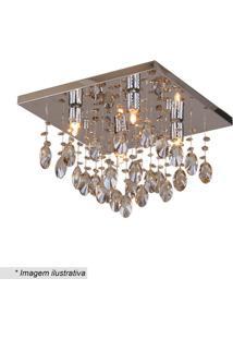 Plafon De Cristal- Inox & Champanhe- 29X40X40Cm-Hevvy