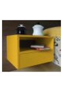 Mesa De Cabeceira Nicho Com Gaveteiro Suspenso De Parede - Amarelo Laca
