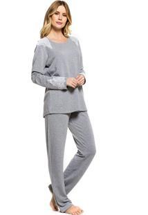 Pijama Inspirate De Inverno Mescla Com Renda Cinza