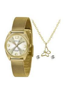 Kit De Relógio Analógico Lince Feminino + Brinco + Colar -Lrgh139L Ky23C2Kx Dourado