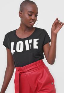 Camiseta Guess Love Preta - Preto - Feminino - Algodã£O - Dafiti