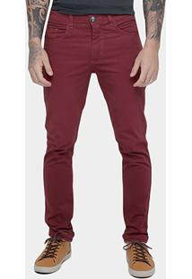 Calça Skinny Preston Color Masculina - Masculino-Bordô