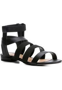 Rasteira Shoestock Elásticos - Feminino-Preto