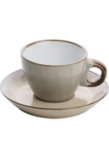 Conjunto 4 Xícaras Porcelana Para Café Com Pires Branco 100Ml